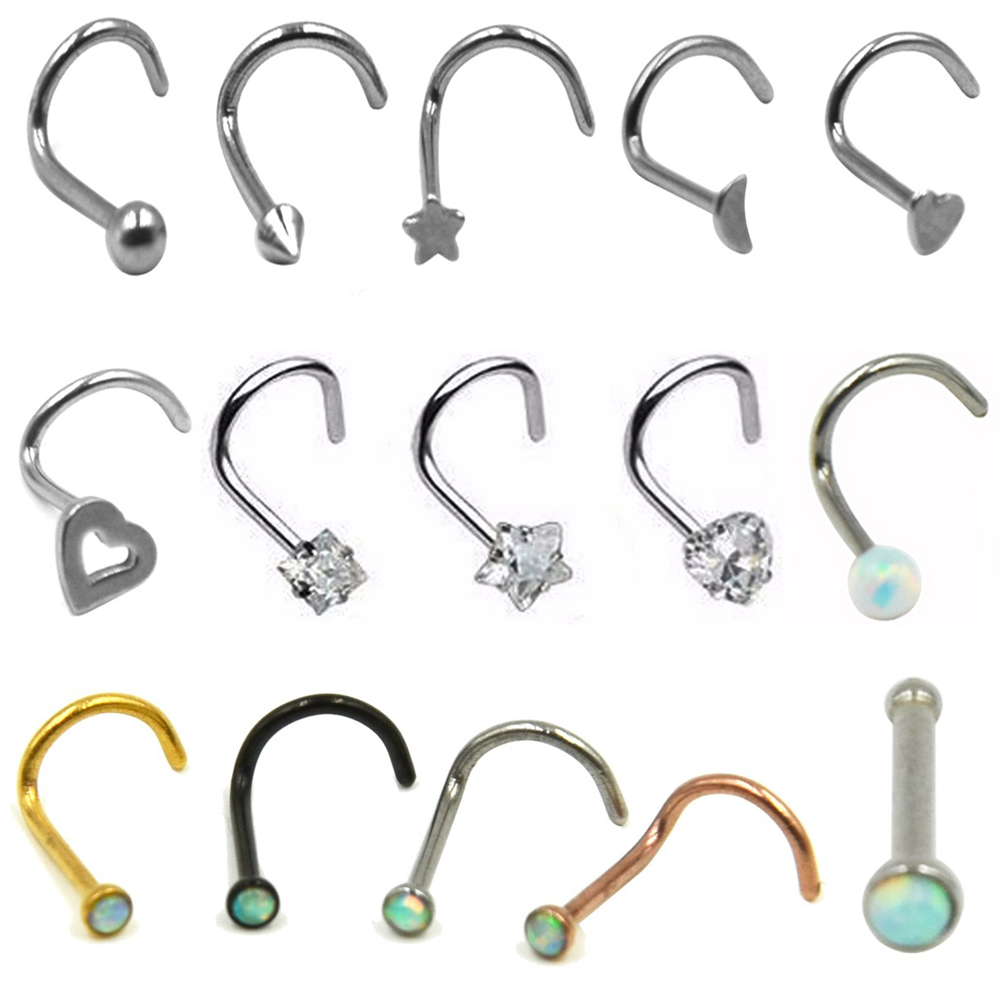 1pc Surgical Steel Hollow Heart Star Moon Zircon Nose Screw Ring Opal Nose Bone Stud Retainer Holder Piercing Body Jewelry 20g