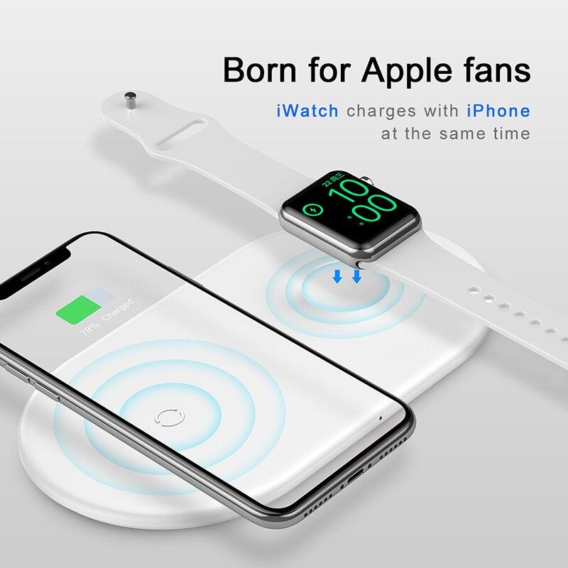 Chargeur sans fil Qi 2 en 1 Baseus pour Apple Watch iPhone XS Max X 8 Samsung S10 10 W 3.0 chargeur rapide pour i Watch 3 2Chargeur sans fil Qi 2 en 1 Baseus pour Apple Watch iPhone XS Max X 8 Samsung S10 10 W 3.0 chargeur rapide pour i Watch 3 2