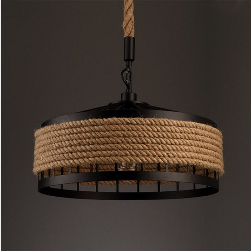 American Retro Industrial Style Creative Hemp Rope Pendant Lamp Cafe Bar Restaurant Parlor House Decoration Lamp Free Shipping hemp rope chandelier retro industrial style bar restaurant cafe creative birdcage bar shop decoration lights e27 3 ac110 240v