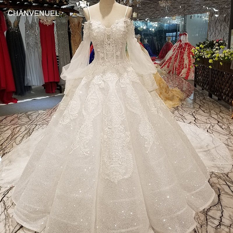 LS64747 Tulle Lantern Sleeves Sweetheart Shiny Wedding