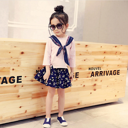 2016 Spring Summer NEW style Kids Girls Baby Tops T Shirts navy style Tie solid basic Tees long Sleeve Clothes 2-7Y