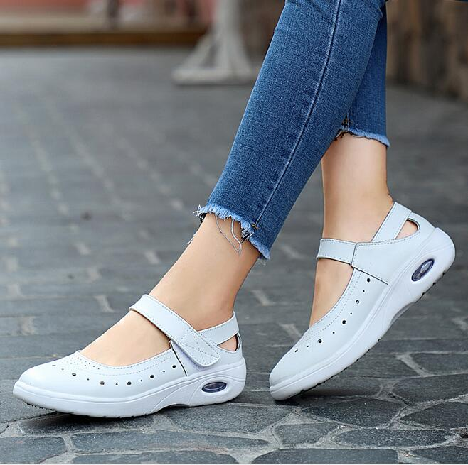 Women white Sandals platform Shoes Genuine Leather Hollow out Flat Sandals Ladies Casual Soft bottom breathable Summer ShoesWomen white Sandals platform Shoes Genuine Leather Hollow out Flat Sandals Ladies Casual Soft bottom breathable Summer Shoes