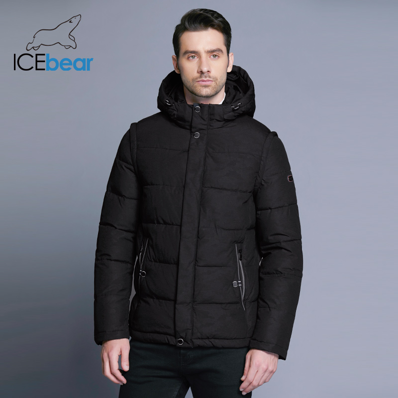 ICEbear 2018 décontracté hommes hiver manteau Double patte Double coupe-vent Style concis haute qualité vestes mode vêtements 17MD923D