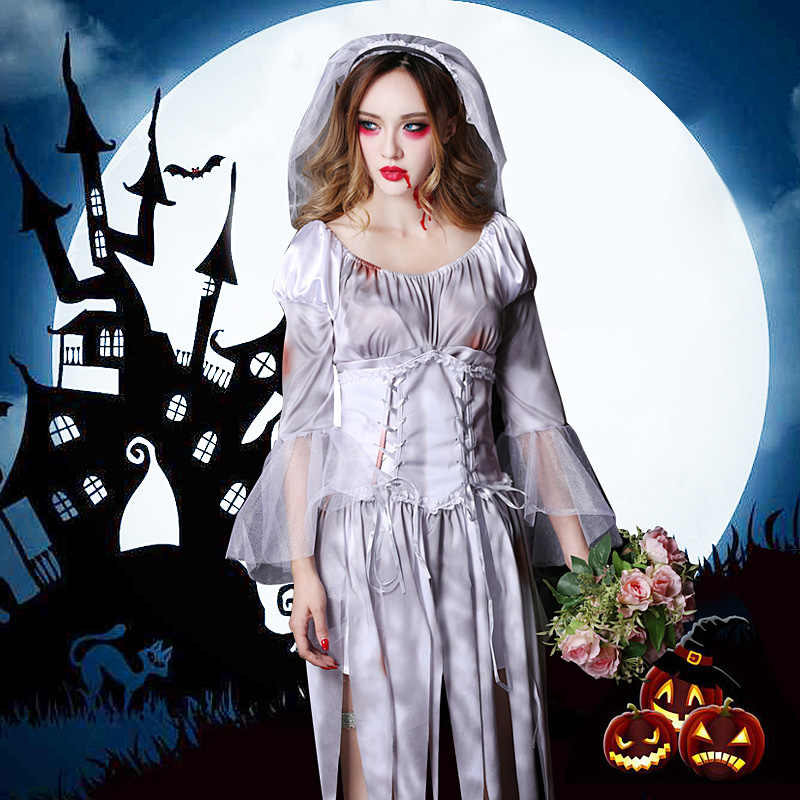 Bride And Groom Halloween Costume.Halloween Costume Cosplay Costume Female Ghost Bride And Groom Horror Bloodstained Female Adult Zombie Suit