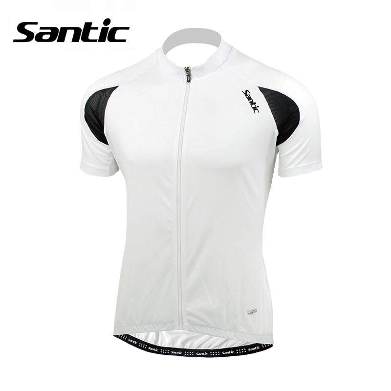 Santic Cycling Jersey Men Summer Bicycle Riding Clothes Short Sleeve MTB Mountain Bike Jersey Outdoor Sportwear Top Shirt White 2016 new men s cycling jerseys top sleeve blue and white waves bicycle shirt white bike top breathable cycling top ilpaladin