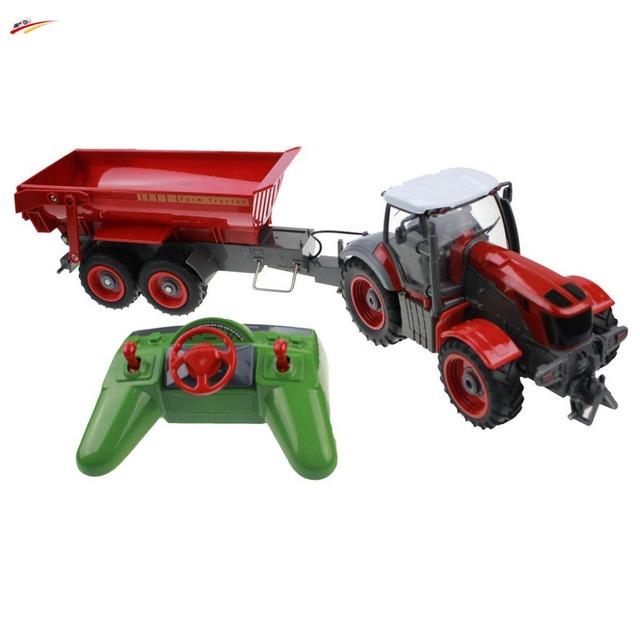 Camiones RC 6 Canales 4 Rueda Camión Agrícola Tractor Agrícola Con Auto Dumper de Simulación de Control Remoto