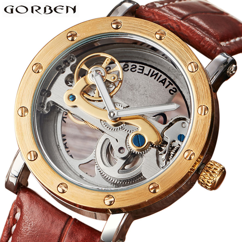 Skeleton Steampunk Automatic Mechanical Watch Mens Stainless Steel Sports Series Flyingwheel Leather Top Brand Luxury Wristwatch wholesale wilon mens stainless steel mechanical skeleton watch