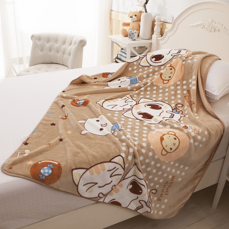 kawaii Cat Cartoon Baby Blanket Newborns Soft Fleece Swaddle Flannel Kids Bedding Quilt Sofa Covers Toddler Bedspread 96*130 cm yellow solid color throw blanket on the bed soft flannel fleece blanket for sofa multi size bedspread for home warm bedding