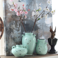 Home Decorations Ceramic Vase Handicraft Home Decor Ornaments Celadon Green Flower Decoration