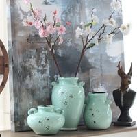 Home Decorations Ceramic Vase Handicraft Home Decor Ornaments Celadon Green Flower Decoration