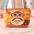 RU&BR Korean Women Coin Purse Wallets Large Capacity Leather Money Bag Lady Zip Pouch Creative Monkey Design Card Holder