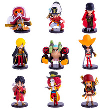 9 Piece 6cm~8cm Q Version One Piece Luffy Sanji Robin Action Figure Furnishing Articles Holiday Gifts Ornament Children's toys