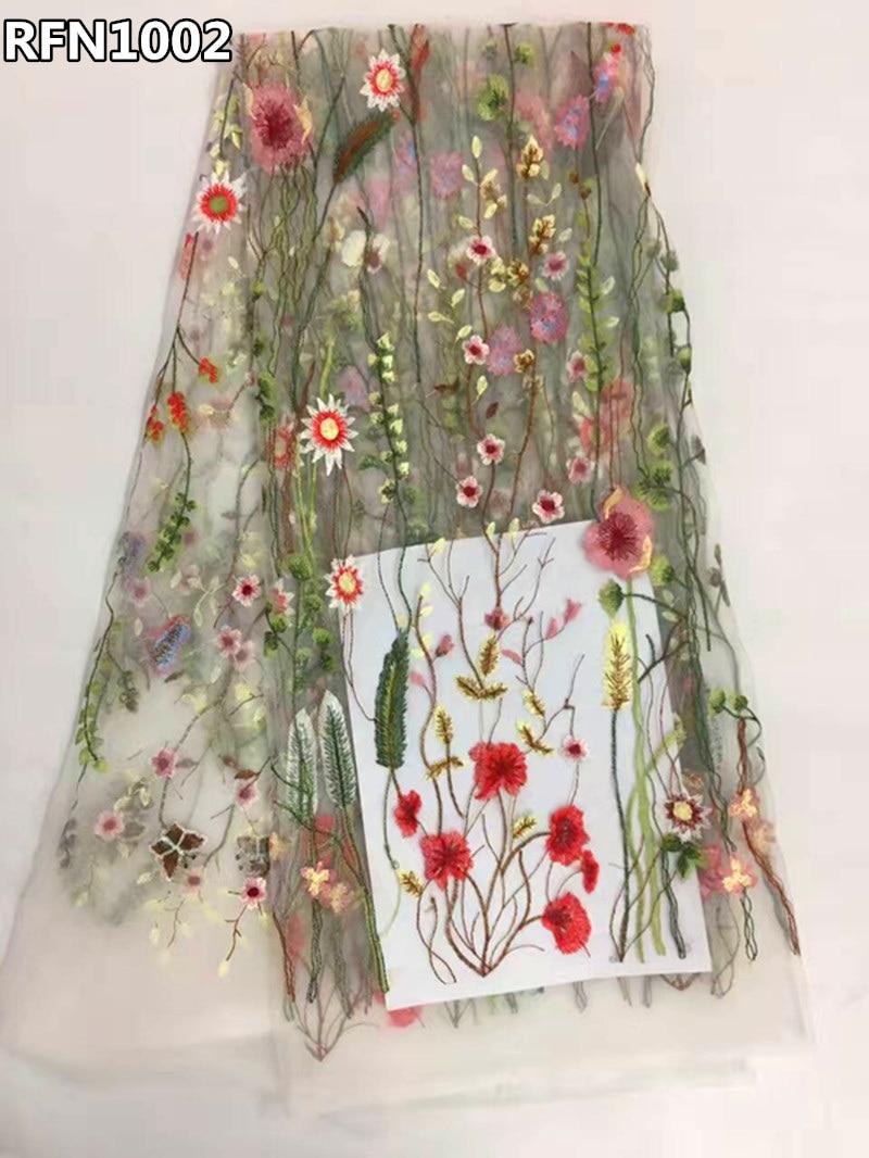 Tela de encaje africano 2017 flores bordadas de tul tela blanca neta del cordón francés telas nigerianas para vestidos de novia RFN1