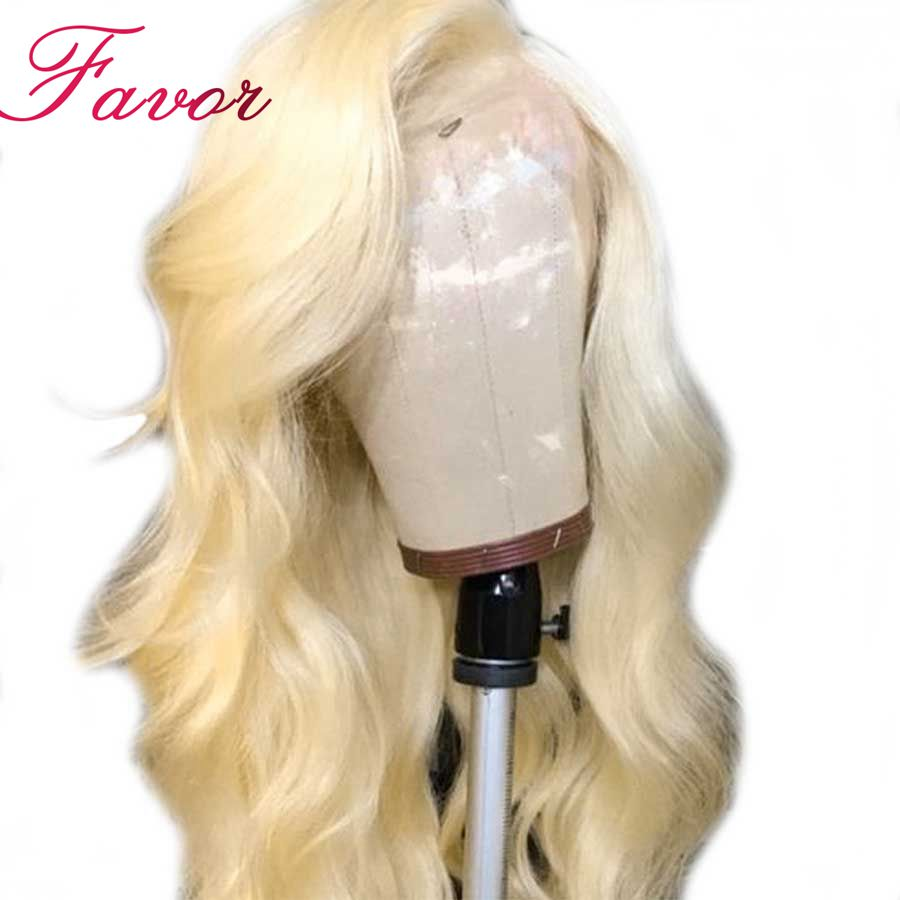 150 Density 13x4 Brazilian Body Wave 613 Blonde Lace Front Wigs With Baby Hair Remy Human