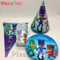 80pc Lot Cartoon PJ Mask Kids Baby Birthday Party Supplies Paper Cups And Banners Combination Children