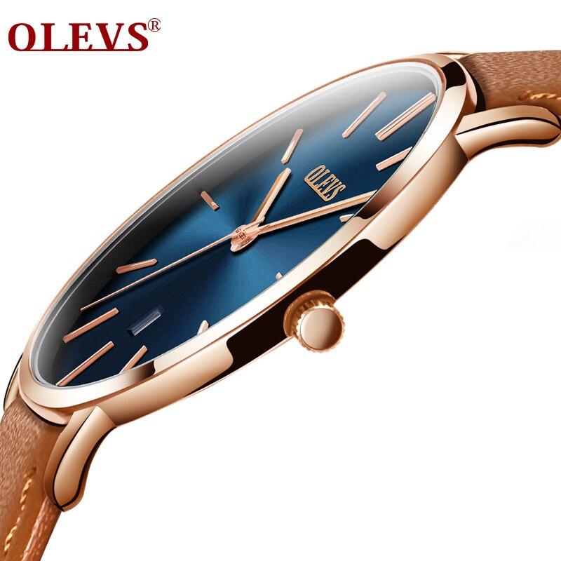 Hombres relojes de lujo marca OLEV cuarzo correa de cuero genuino minimalista ultrafino relojes impermeable Relogio alta calidad