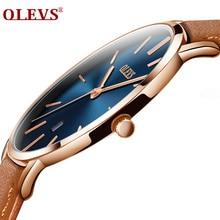 Для мужчин часы Элитный бренд OLEVS кварцевые пояса из натуральной кожи ремень минималистский ультратонкие наручные часы водонепроницаемые Высокое качество Relogio