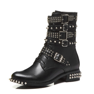 Image 3 - MORAZORA 2020 plus size 33 43 womens boots genuine leather round toe autumn winter Motorcycle boots black rivet ankle booties