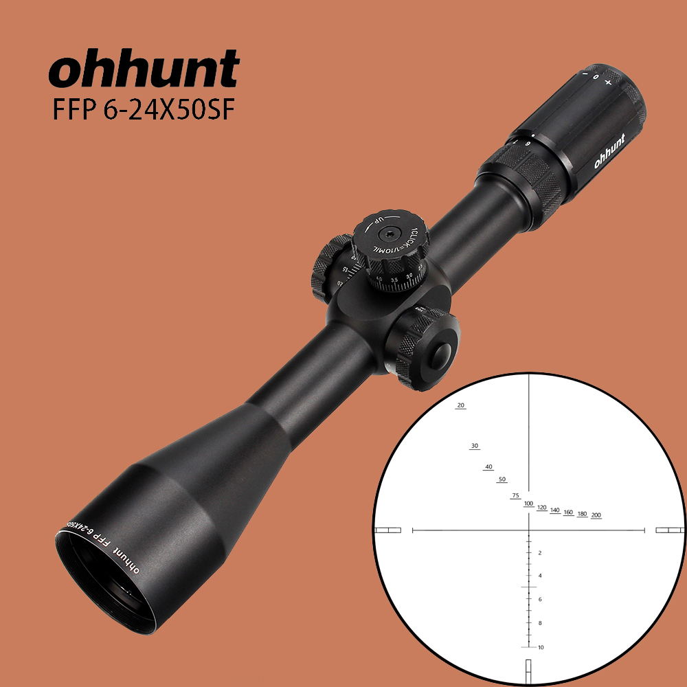 ohhunt 6-24X50 SF FFP Hunting Riflescope First Focal Plane Glass Etched Reticle Tactical Optical Sight Side Parallax Rifle Scope ohhunt hl 3 12x44 sf hunting riflescope glass etched reticle rgb illuminated rifle scope side parallax tactical optics sight