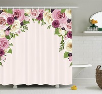 Roses And Berries Arch Decoration Gatherings Fun Artistic Design Polyester Fabric Bathroom Shower Curtain Set Magenta