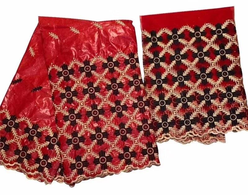 Ultime red bazin riche getzner 2019 bacino riche getzner jacquard brocade fabric con il diamante del merletto nigeriano 7 metri per il vestito b344-in Pizzo da Casa e giardino su  Gruppo 1
