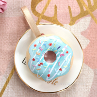Free shipping 30pcs creative Donut shaped pink blue with heart star as Wedding Birthday Guests Event party candy chocolate box