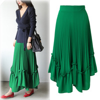2019 Spring and Summer Loose Korean Skirt Elegant Women Skirts Chiffon Casual Solid A Line Ankle Length