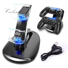 2016 Baru kedatangan LED USB ChargeDock Docking Cradle Station Berdiri untuk Sony Playstation 4 PS4 Game Controller Charger nirkabel