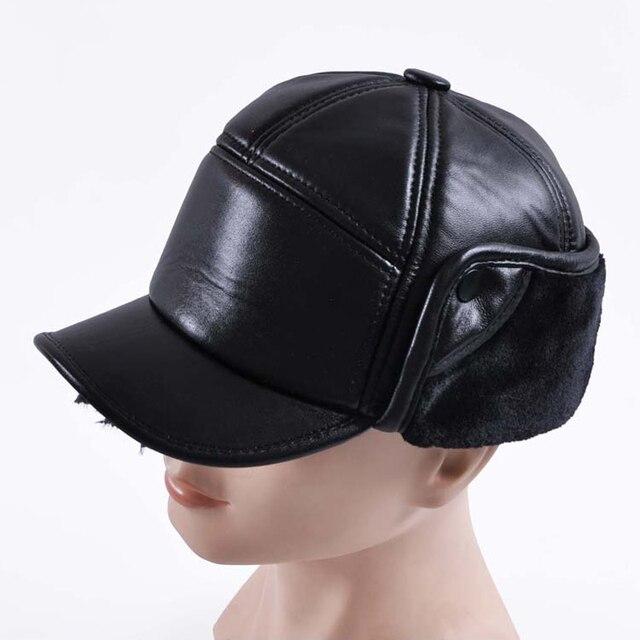 4723a4d0a72 Svadilfari Wholesale New 2018 Winter Men Real Sheepskin Bomber Hats Genuine Leather  Caps Warm Earflaps Casual Woman Black