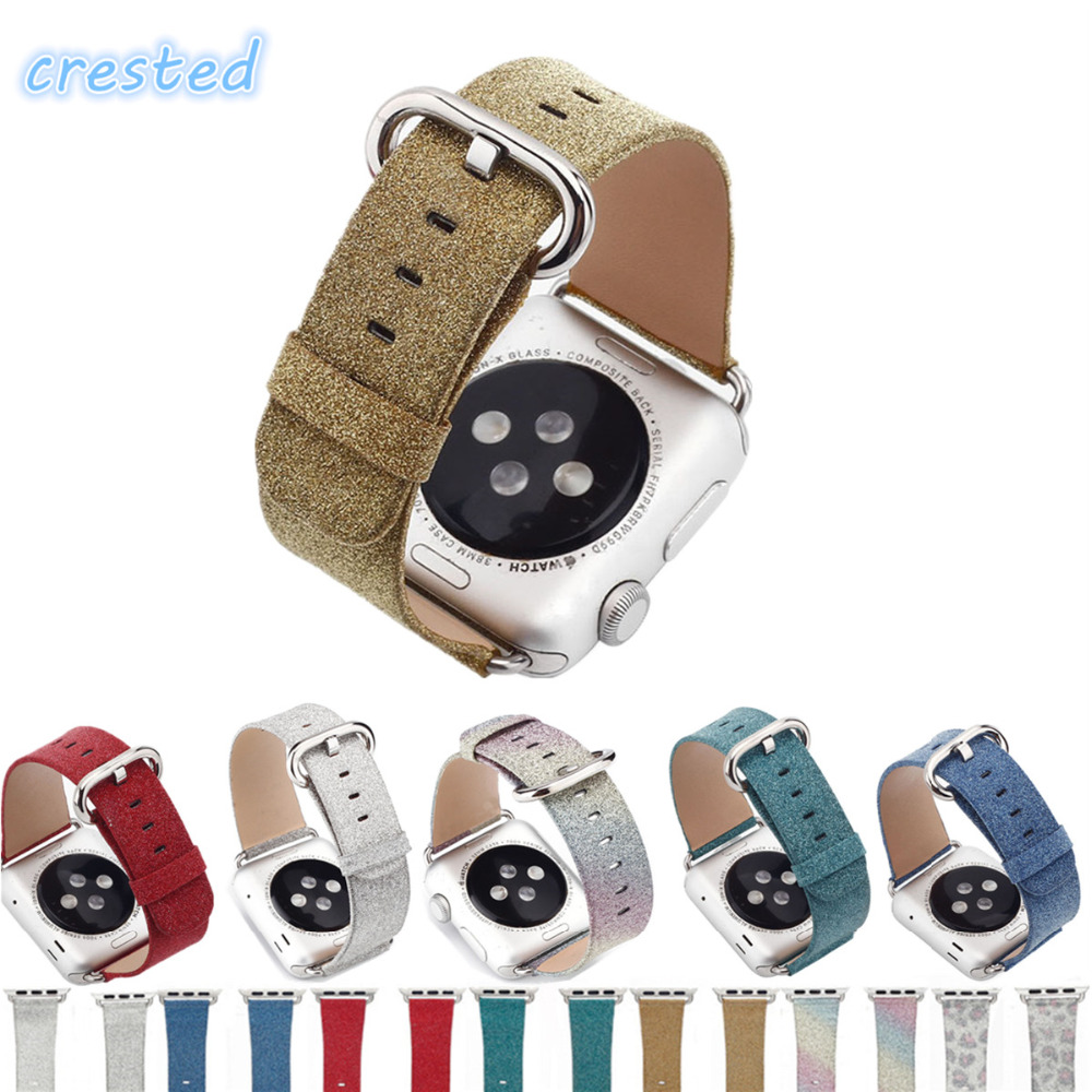 купить CRESTED Luxury Glittery Bling Genuine leather watch strap for apple watch band 42mm/38 men women bracelet belt for iwatch 1/2/3 по цене 541.02 рублей