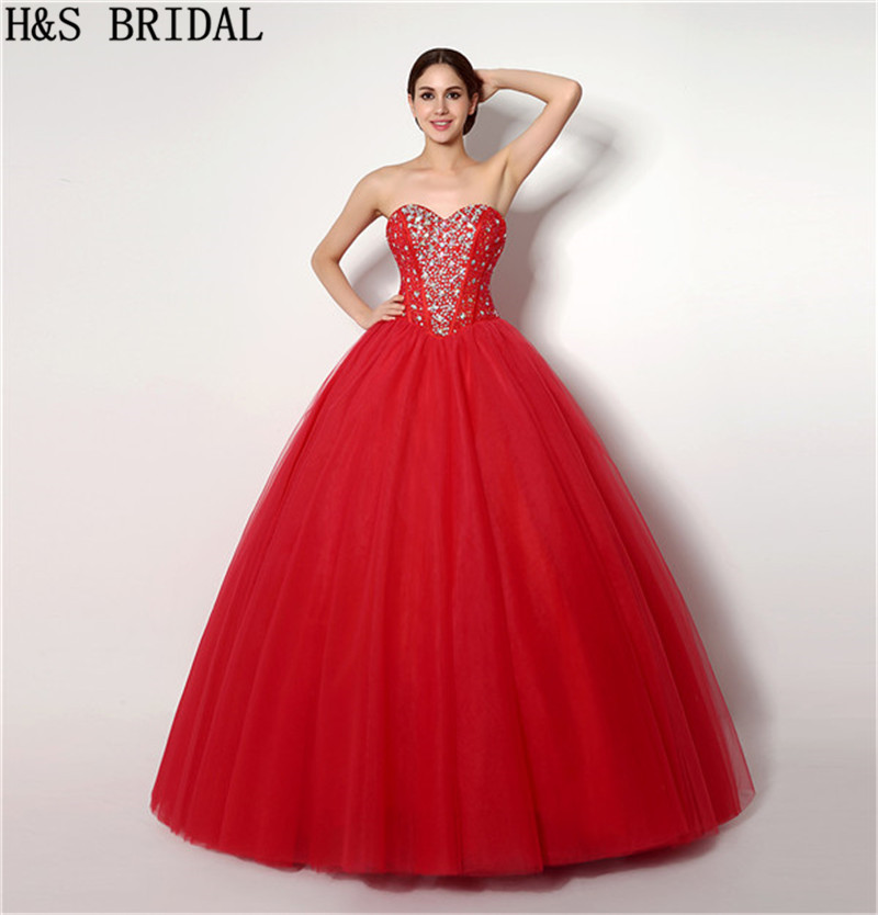 H & S Rot Kristall Perlen Quinceanera Kleider süße 16 ballkleider ...