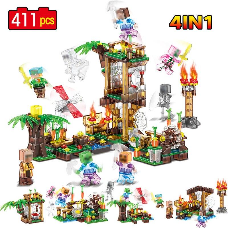 4 en 1 Blocs De Construction En Cristal Compatible LegoINGLYS Minecrafted Feu Maison Moulin À Vent Zombie Homme Citrouille Figure ensemble Briques Jouets
