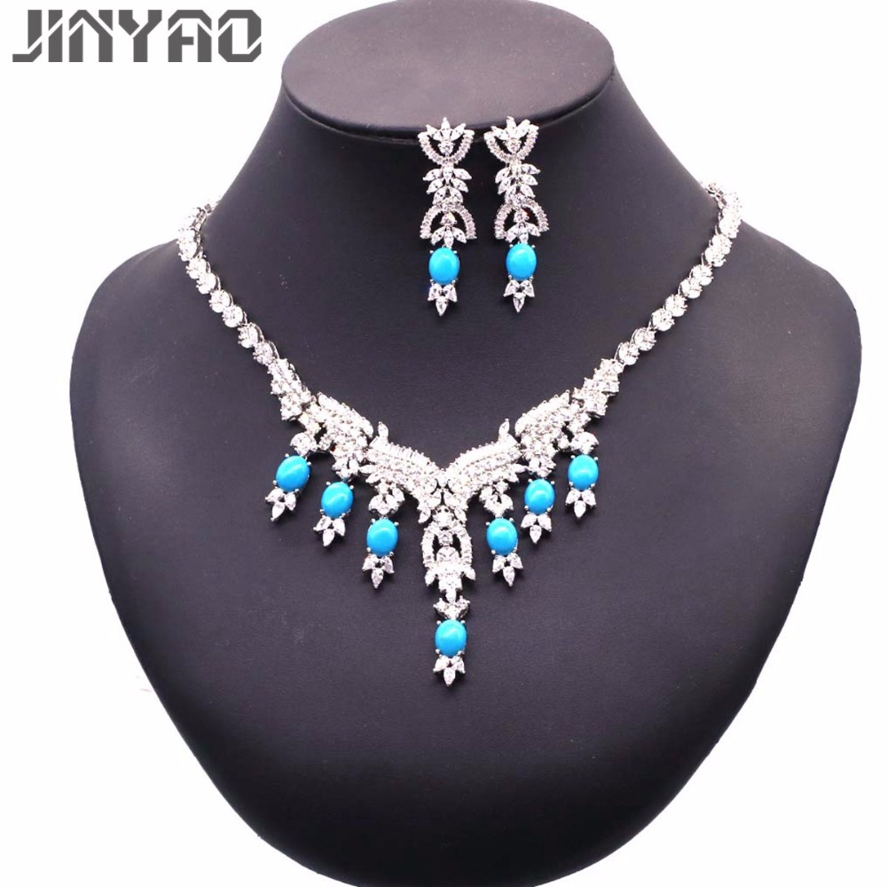 JINYAO Fashion Bride Jewelry Set for Women White Gold Color Flowers Zircon Blue Stone Necklace Earring