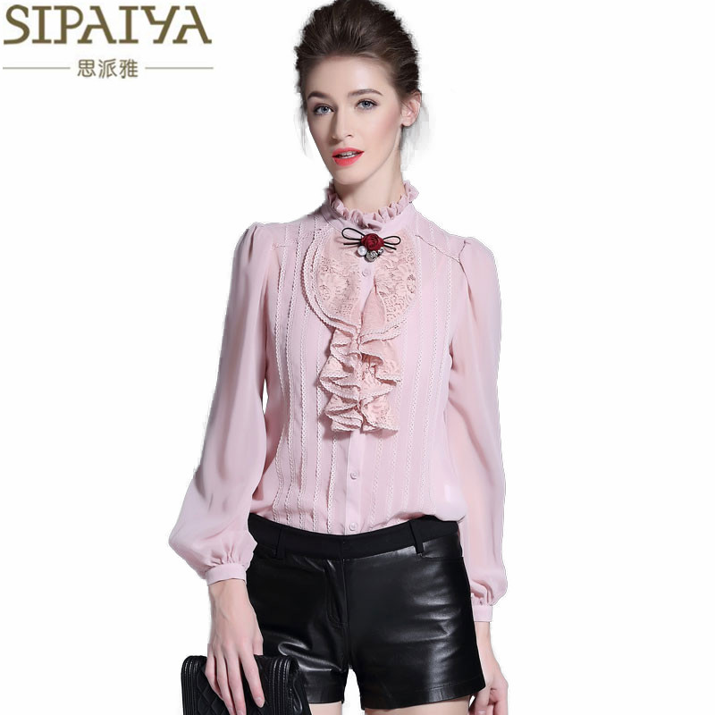 SIPAIYA New Fashion Pink White Black Silk Blouse Womens Office Ladies Casual Long Sleeve Ruffled Stand Collar Real Silk Blouses jenni new pink solid ruffled chemise l $39 5 dbfl