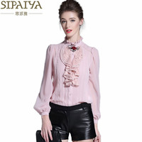 SIPAIYA New Fashion Pink White Black Silk Blouse Womens Office Ladies Casual Long Sleeve Ruffled Stand