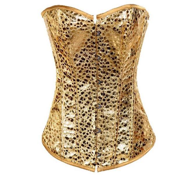 3a517921666 Wholesale Golden Nugget Burlesque Corset Lace Up Boned Zipper Front PVC  Corset Bustier Overbust Corselet Women Hot