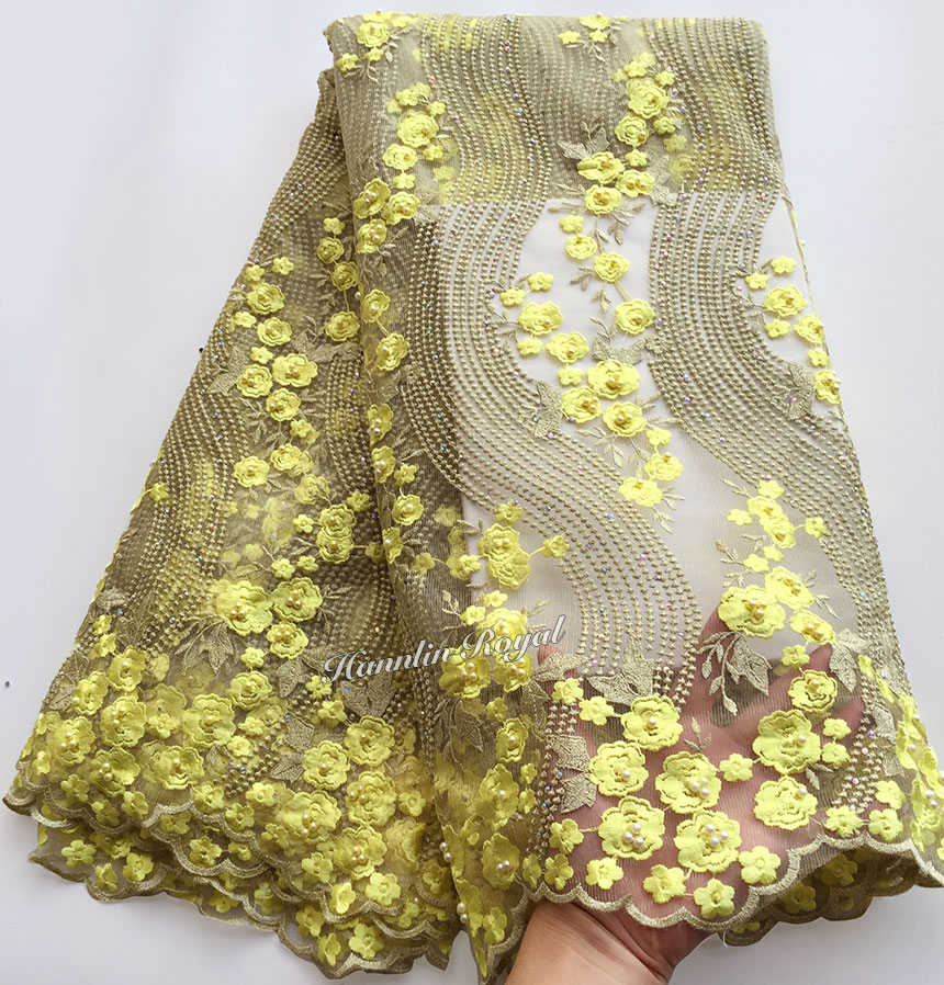 5 yards Yellow Gold Latest African tulle lace Beaded French lace fabric Nigerian celebration dress High