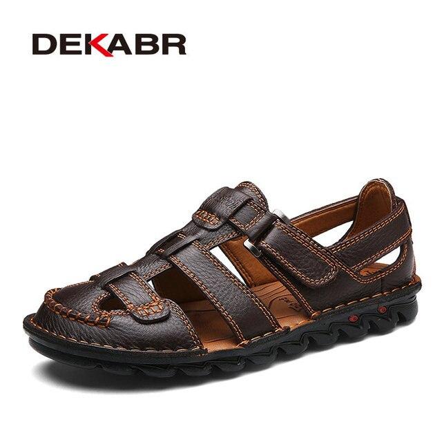 DEKABR ブランド男性カジュアルビーチ靴高品質夏のサンダルソフト唯一のファッション男性本革のスリッパ男性のフリップは、