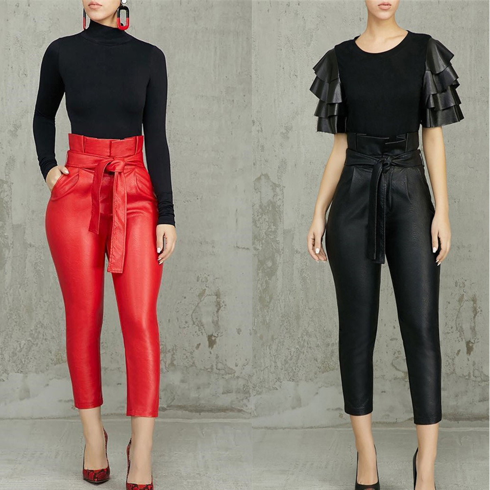 Women New Sashes High Wasit Ruffles PU Leather Ankle Length Pencil Skinny Pants Fashion Red Black Thicken Trousers 093