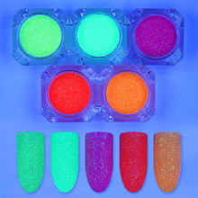 5 Boxes Fluorescent Nail Glitter Powder Set 2g Neon Phosphor Manicure Nail Art Decoration Accessory 5 Colors