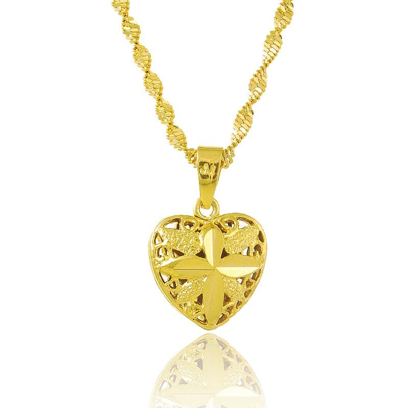 Pure Gold Color 1 5x1 8cm Heart Pendant Women Necklace 24k