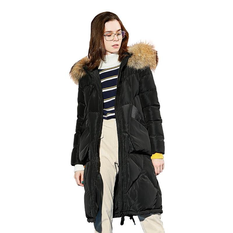Toyouth Vintage Fur Collar Thicken Long   Down   Parka   Coats   Fashion Solid Warm Winter Overcoat Hooded Long   Coat