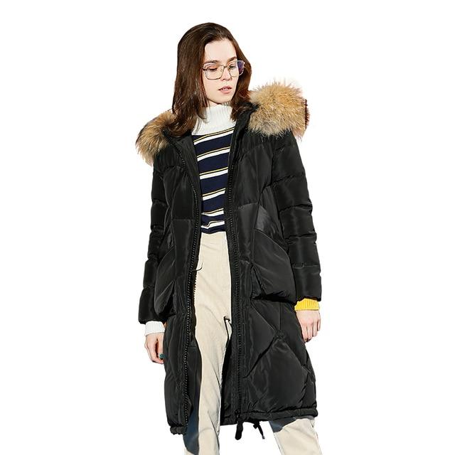 Toyouth/винтажное длинное пуховое пальто с меховым воротником, модные однотонные теплые зимние пальто с капюшоном, длинное пальто