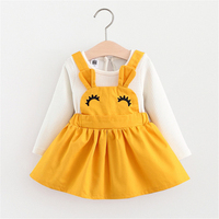 Baby girl dress princess autumn Solid dress wedding kids party dresses baby frock designs christening 1 year birthday Gift