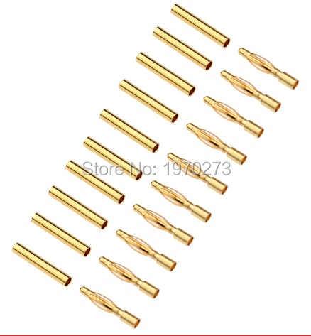 5 пар 10 пар 20 пар 2,0 мм 2 мм золото типа Пуля банан разъем для ESC литий-полимерный, Радиоуправляемый батареи вилки