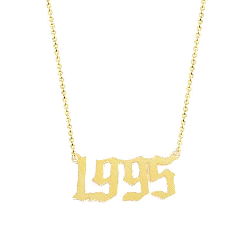 Benutzerdefinierte Schmuck Personalisierte Alten Englisch Anzahl Halskette Für Frauen Erklärung Anhänger Halskette Gold Farbe BFF Weihnachten Geschenk BFF