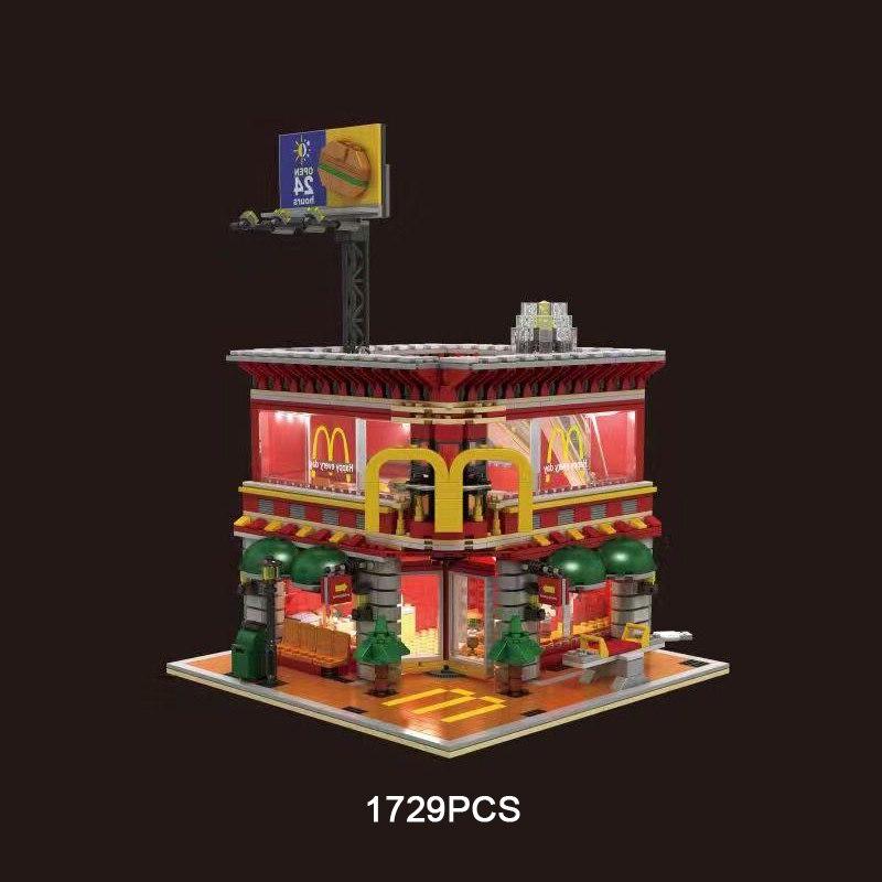 Nieuwe makers stad street view moc Mcdonald bouwsteen met usb licht Ronald figures truck bricks speelgoed collectie voor geschenken-in Blokken Stapelen van Speelgoed & Hobbies op  Groep 1