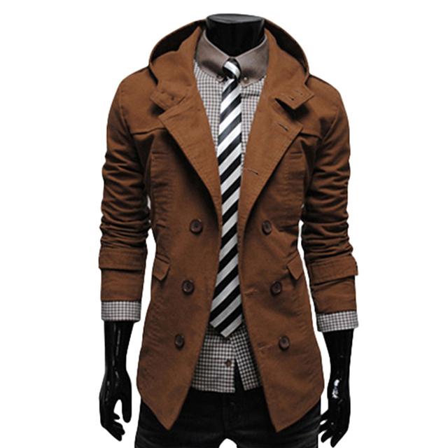 Paul Jones 2017 Negro/Marrón Silla De Inverno Feminino Casacos Gabardina Prendas de vestir exteriores de Corea Hombres Con Estilo Slim Fit Cotton 4533