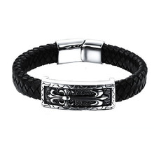 Fashion Domineering Black Braided Pure Cowhide Tide Male Individual Leather Rope Titanium Steel Hand Bracelet Ph896