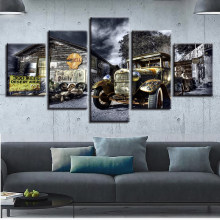 Canvas Poster Wall Art Printed 5 Pieces Antique Hot Rod Vintage Car Paintings Landscape Pictures Modular Living Room Decor Frame(China)